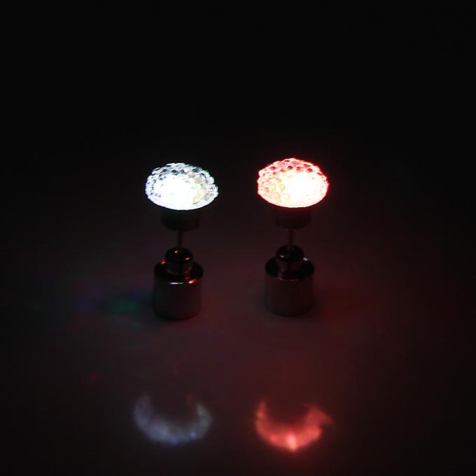 LED Luminous White Diamond Round Earrings - Multicolor