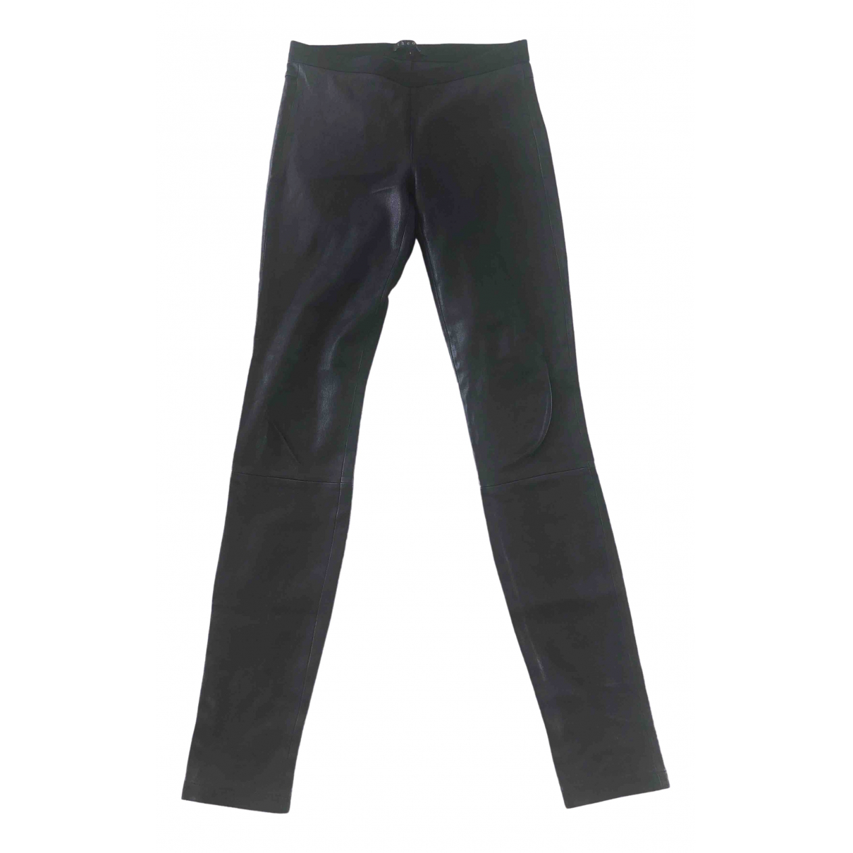 Theory \N Black Leather Trousers for Women 4 US