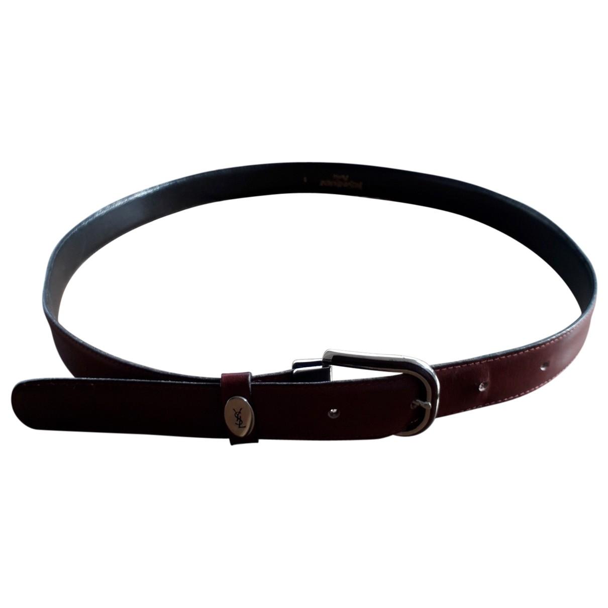 Yves Saint Laurent \N Burgundy Leather belt for Men 100 cm