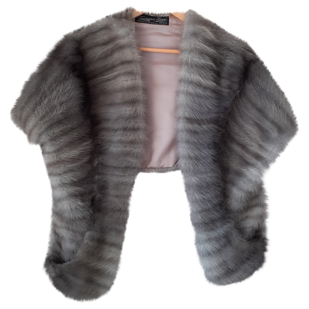 Non Signé / Unsigned \N Grey Mink scarf for Women \N