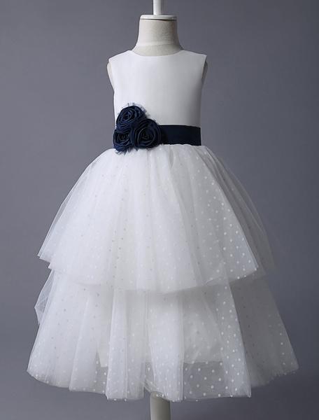 Milanoo Flower Girl Dress Ivory Boho Polka Dot Tiered Tulle Handmade Flower Sash Kids Dinner Party Dresses