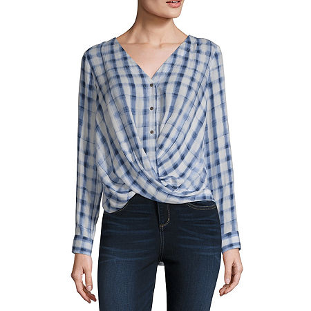 a.n.a Womens Long Sleeve Relaxed Fit Button-Down Shirt, Xx-large , Blue