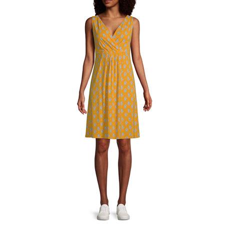 St. John's Bay Sleeveless Floral A-Line Dress, X-large , Yellow