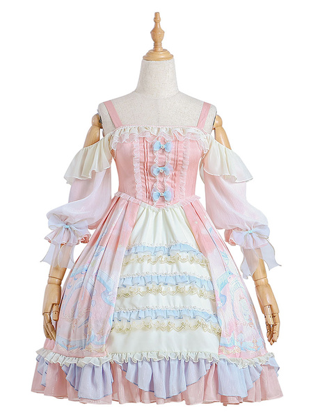 Milanoo Sweet Lolita OP Dress Cloud Dreamland Ruffles Bows  Lolita One Piece Dresses