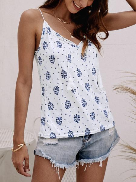 Yoins White Calico Lace-up Design Drawstring Round Neck Cami