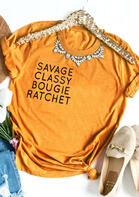 Savage Classy Bougie Ratchet T-Shirt Tee without Necklace - Yellow