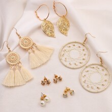 6pairs Leaf Charm Earrings