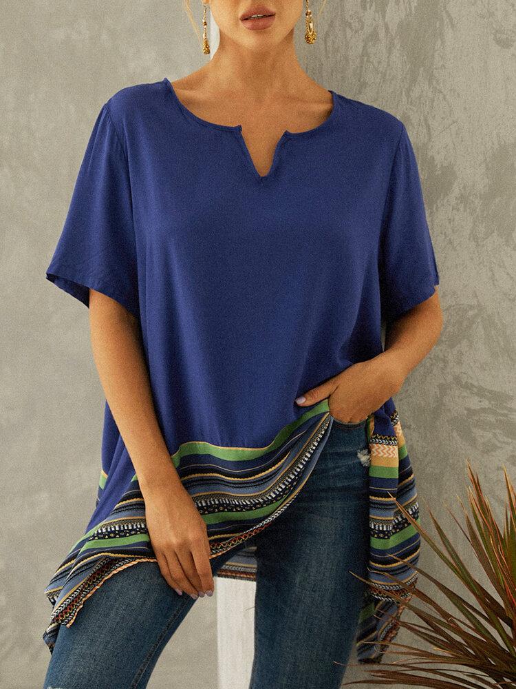 Asymmetrical Striped Patchwork Plus Size Blouse for Women