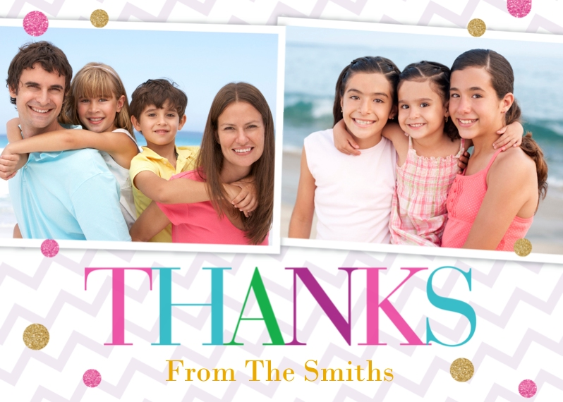 Thank You Cards 5x7 Folded Cards, Standard Cardstock 85lb, Card & Stationery -Colorful Chevron Thanks by Posh Paper