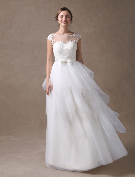 Milanoo Beach Wedding Dresses Ivory Backless Summer Bridal Gown A Line Tulle Tiered Bow Sash Illusion Floor Length Wedding Gowns