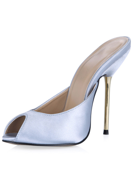 Milanoo Mules Shoes Peep Toe Silk And Satin Balck Pu leather Shoes For Women