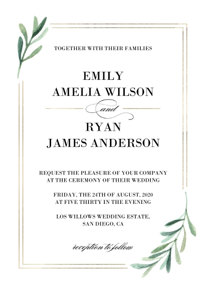 Wedding Invitations 5x7 Cards, Premium Cardstock 120lb with Elegant Corners, Card & Stationery -Wedding Invitation Simple Leaves by Tumbalina