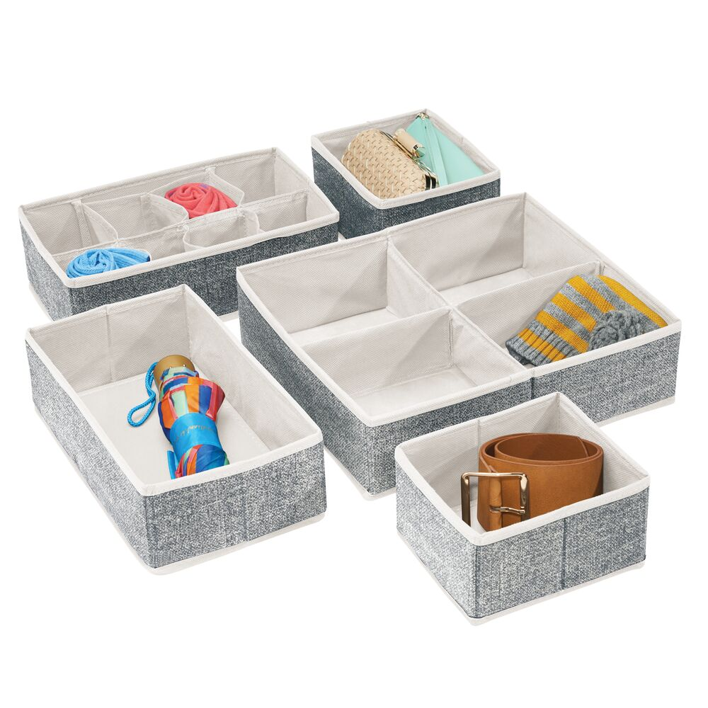 mDesign Fabric Closet Drawer Storage Organizers - Set of in Black/Cream