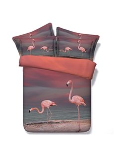 Two Pink Flamingos by the Sea Print 5-Piece Comforter Sets