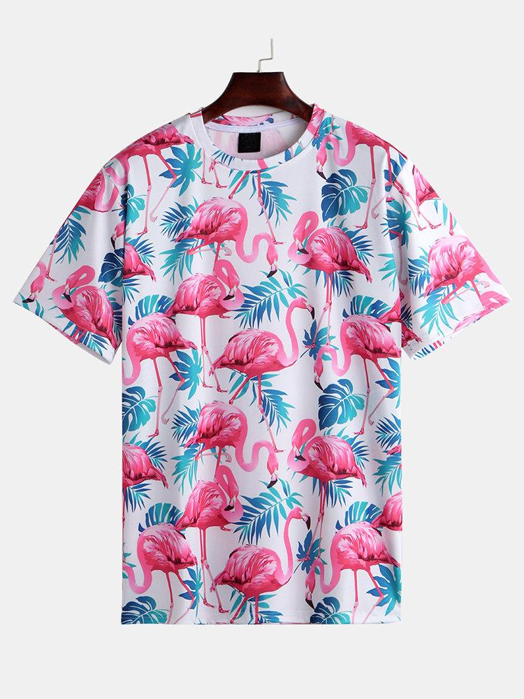 Mens Summer Funny Hawaiian Flamingo Printed O-Neck Short Sleeve Loose Casual Tee Shirts