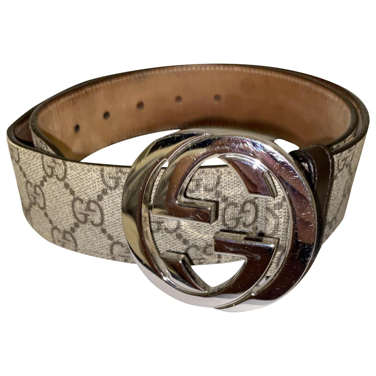 Gucci Interlocking Buckle Beige Cloth belt for Men 80 cm