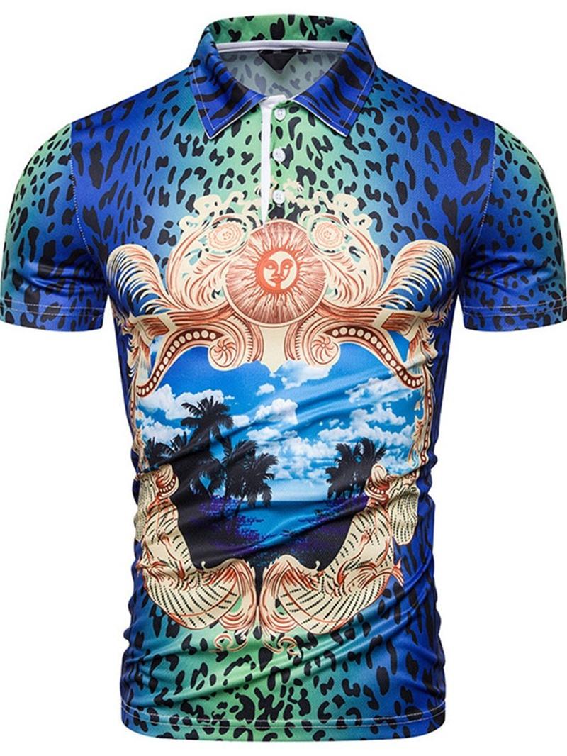 Ericdress Polo Neck Leopard Print Polo Shirt