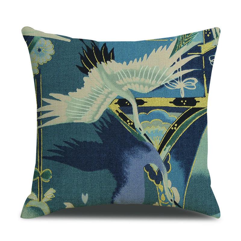 Vintage Japanese White Crane Print Linen Cushion Cover Home Sofa Office Waist Soft Throw Pillowcases