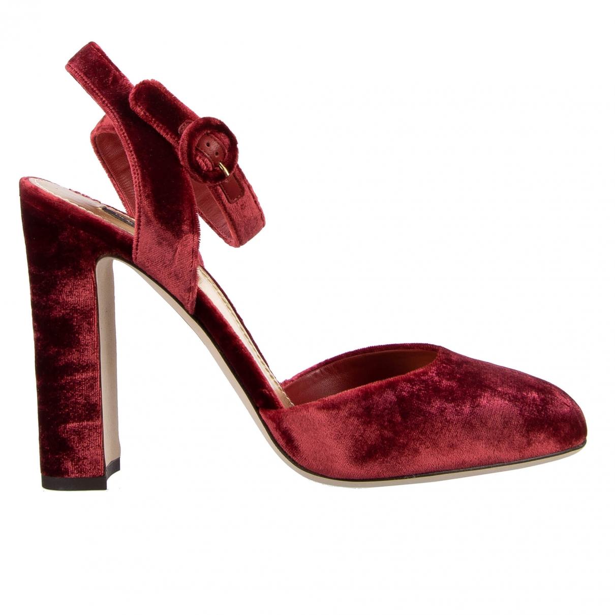Dolce & Gabbana \N Red Velvet Heels for Women 41 EU
