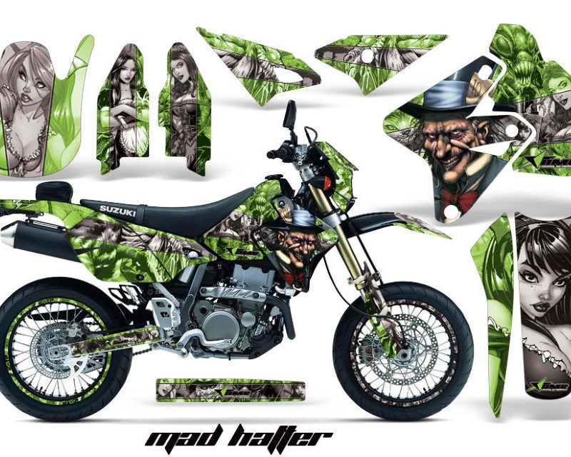AMR Racing Graphics MX-NP-SUZ-DRZ400SM-00-18-HAT S G Kit Decal Sticker Wrap + # Plates For Suzuki DRZ400SM 2000-2018 HATTER SILVER GREEN