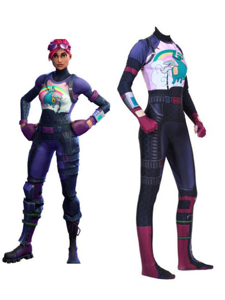 Milanoo Fortnite Cosplay Costumes Brite Bomber Jumpsuit Lilac Game Cosplay Costumes