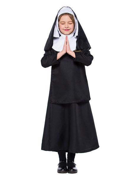 Milanoo Kids Nun Costume Halloween Black Dresses Set