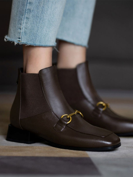 Milanoo Women Ankle Boots Cowhide Coffee Brown Metal Details Square Toe Boots