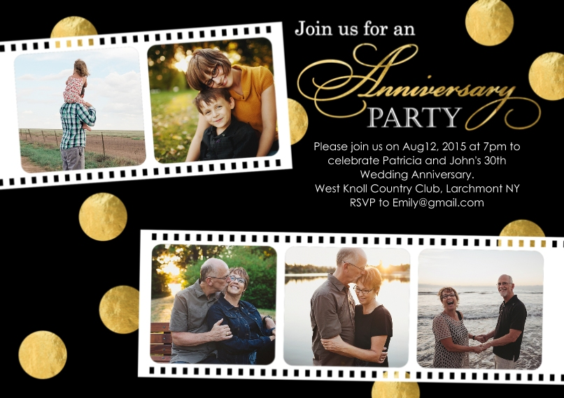 Anniversary Invitations Flat Glossy Photo Paper Cards with Envelopes, 5x7, Card & Stationery -Anniversary Party Photo Film Strip