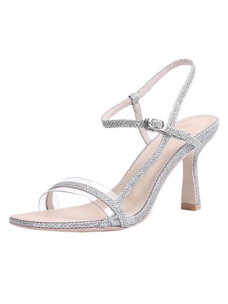 Milanoo Mid Heel Sandals Womens Sequined Open Toe Slingback Flared Heel Sandals