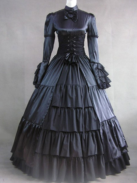 Milanoo Victorian Dress Costume Women's Black Satin Ruffle Long Sleeves Victorian era Outfits Retro Costumes Halloween