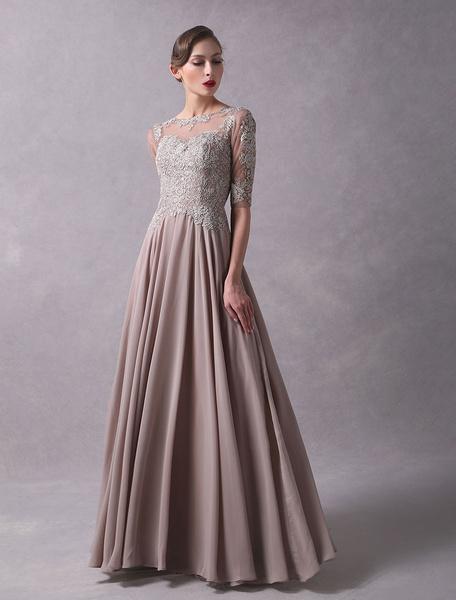 Milanoo Wedding Guest Dresses Lace Applique Chiffon Mother Of The Bride Dress Half Sleeve Illusion Floor Length Wedding Party Dresses