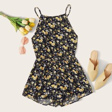 Plus Tie Back Floral Print Slip Romper