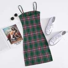 Tartan Print Bodycon Dress