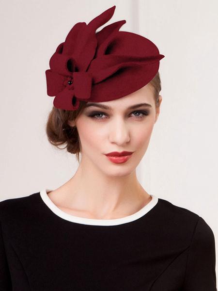 Milanoo Grey Costume Hat Wool Flowers Flapper Hat Costume Accessories Halloween