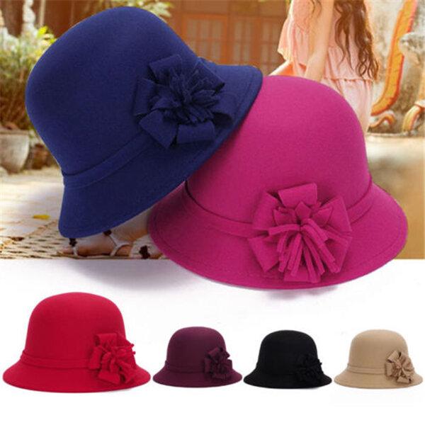 Women Vintage Imitation Wool Flower Felt Dress Hat Warm Sunshade Cloche Bucket Cap