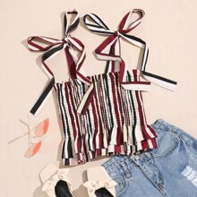 Striped Shirred Ruffle Hem Knotted Cami Top
