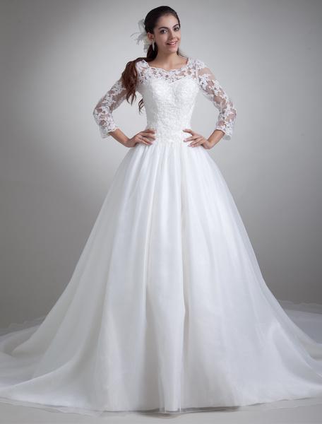 Milanoo Beautiful White Jewel Neck Wedding Dress For Bride