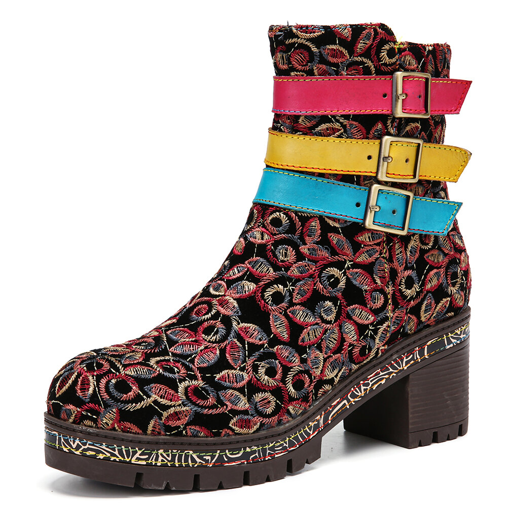 SOCOFY Retro Cloth Floral Embroidery Three Colors Leather Buckle Strap Zipper Chunky Heel Short Boots