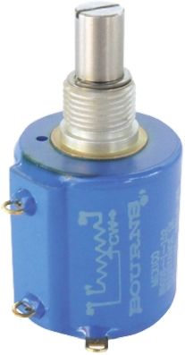 Bourns 1 Gang 10 Turn Rotary Wirewound Potentiometer with an 6.35 mm Dia. Shaft - 10kΩ, ±3%, 2W Power Rating, Linear,