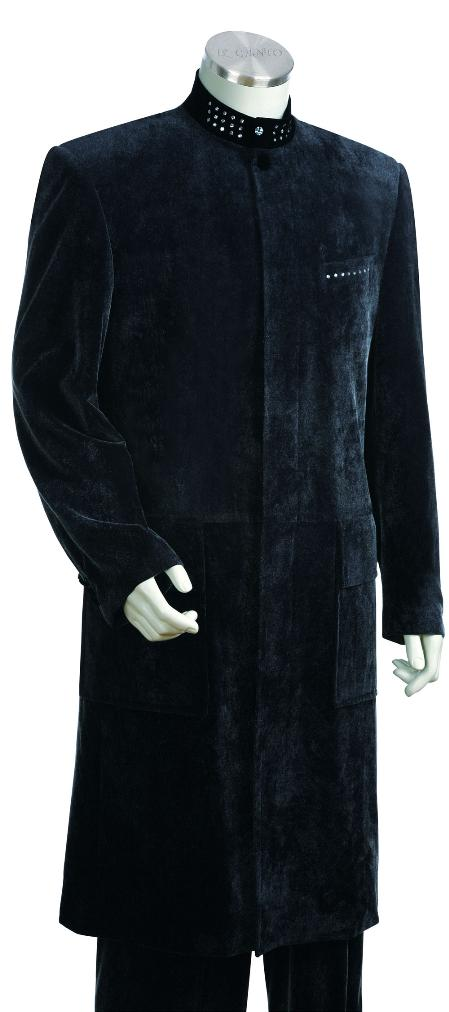 Navy Zoot Suit 45 Inch Long Jacket Mens