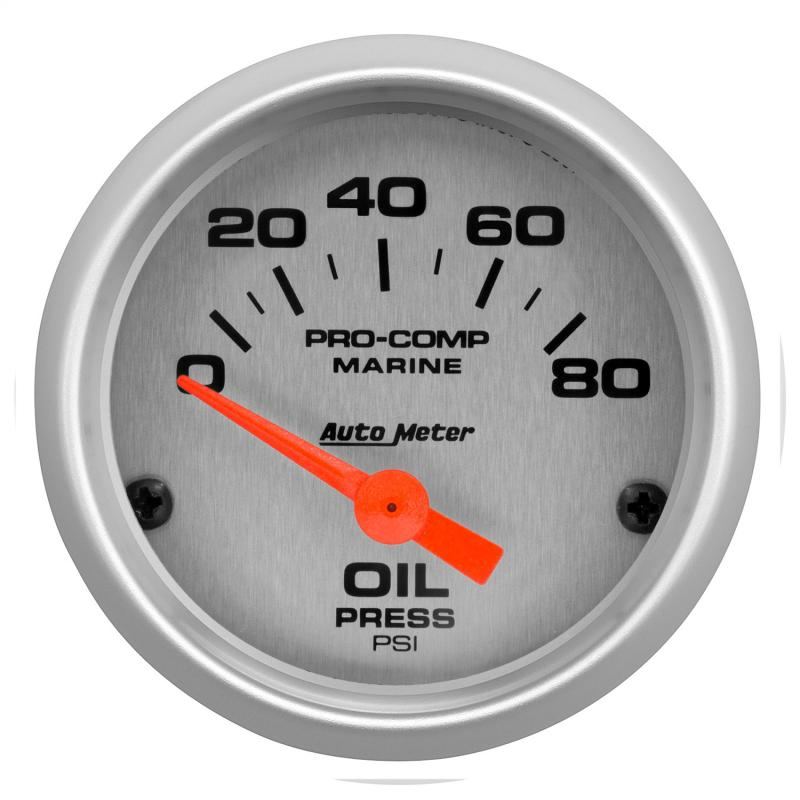 AutoMeter GAUGE; OIL PRESSURE; 2 1/16in.; 80PSI; ELECTRIC; MARINE SILVER