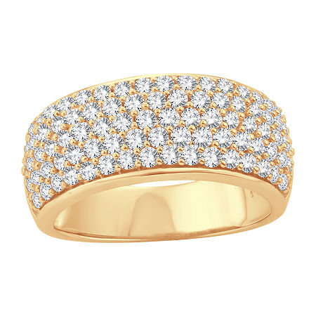 Womens 1 1/2 CT. T.W. Lab Grown White Diamond 10K Gold Cocktail Ring, 6 , No Color Family