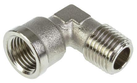 Legris Brass Nickel Plated Hydraulic Elbow Threaded Adapter, 0913 00 13, R 1/4 Male G 1/4 Female