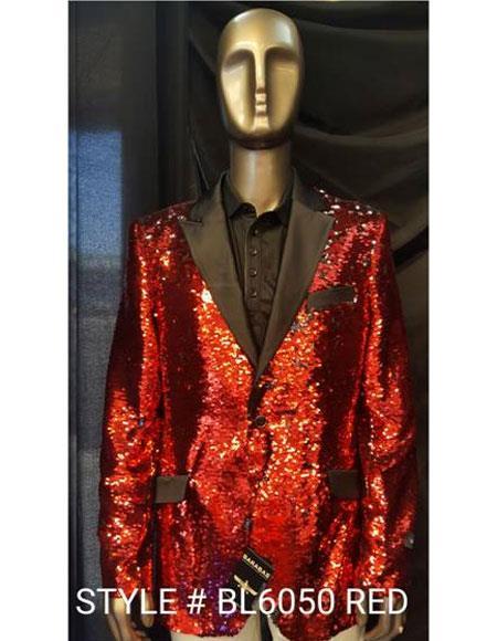 Mens Fashion Red Shiny Sequin Paisley Blazer Sport coat Tuxedo Jacket