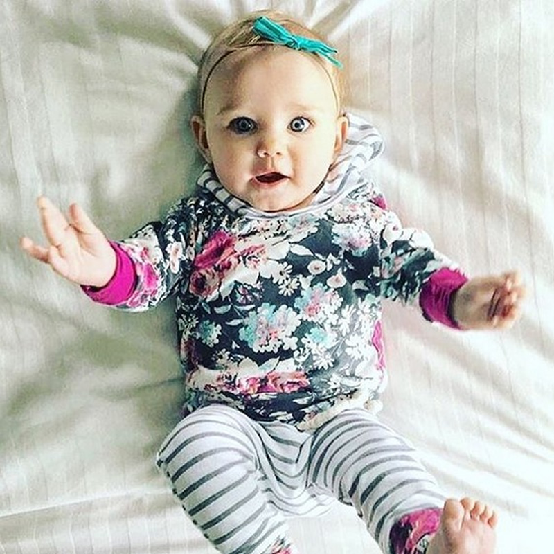 Flowers Printed Cotton 2-Piece Long Sleeve Baby Clothing
