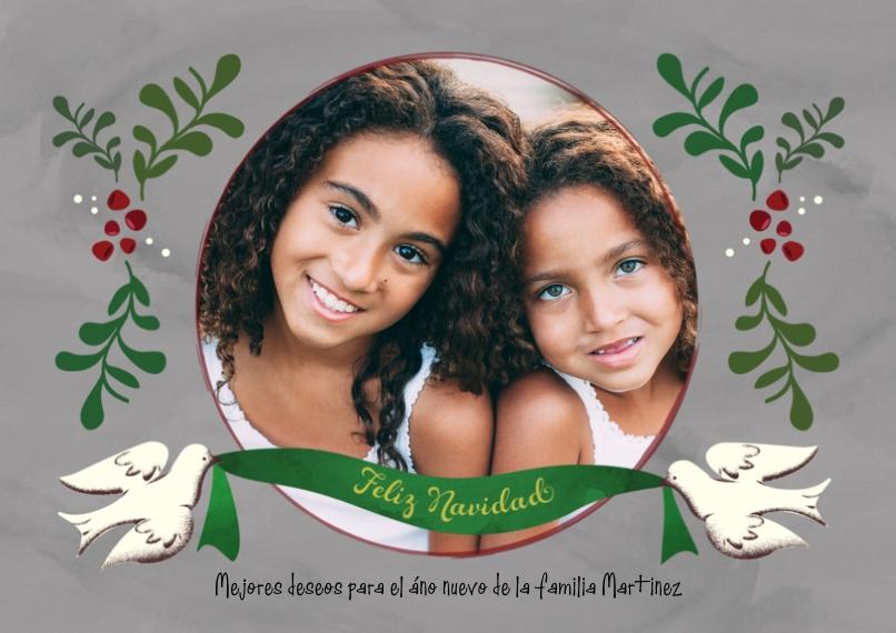 Tarjetas de Navidad Flat Matte Photo Paper Cards with Envelopes, 5x7, Card & Stationery -Dove Ribbon Feliz Navidad