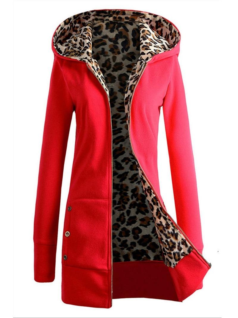 Ericdress Leopard Button Zipper Long Sleeve Hooded Hoodie