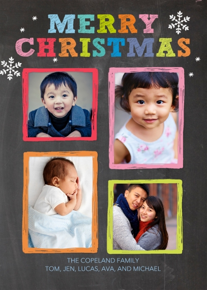 Christmas Photo Cards 5x7 Folded Cards, Premium Cardstock 120lb, Card & Stationery -Christmas Coloful Frames