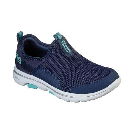Skechers Go Walk 5 - Sovereign Womens Walking Shoes, 8 1/2 Medium, Blue