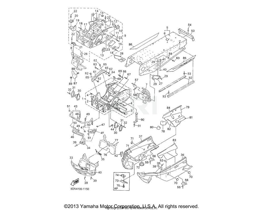 Yamaha OEM 8DF-21960-09-00 FOOTREST COMP. 1